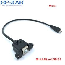 30cm 50cm Mini 5pin Mini USB 2.0 & Micro-USB 5pin Micro USB 2.0 Male to USB 2.0 B Type Female Connector Cable Panel Mount Hole