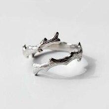 QIMING biżuteria srebrna gałęzie drzewa pierścień z charmsami dla kobiet moda otwarty pierścionek zaręczynowy kobiet hurtownia biżuterii