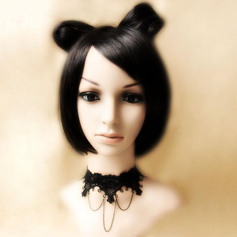 Princesa gótica Lolita collar Vintage negro encaje sexy cadena collar corto chocker collar falso JL-03