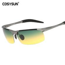 COSYSUN Day & Night Vision HD Driving Polarized Sunglasses men's Driving Glasses Anti-glare aluminum magnesium alloy glasses 817