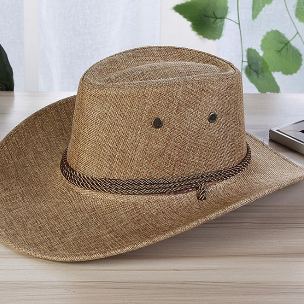 Missky homens verão chapéus de sol cor sólida legal ocidental cowboy chapéu ao ar livre aba larga chapéu masculino acessório