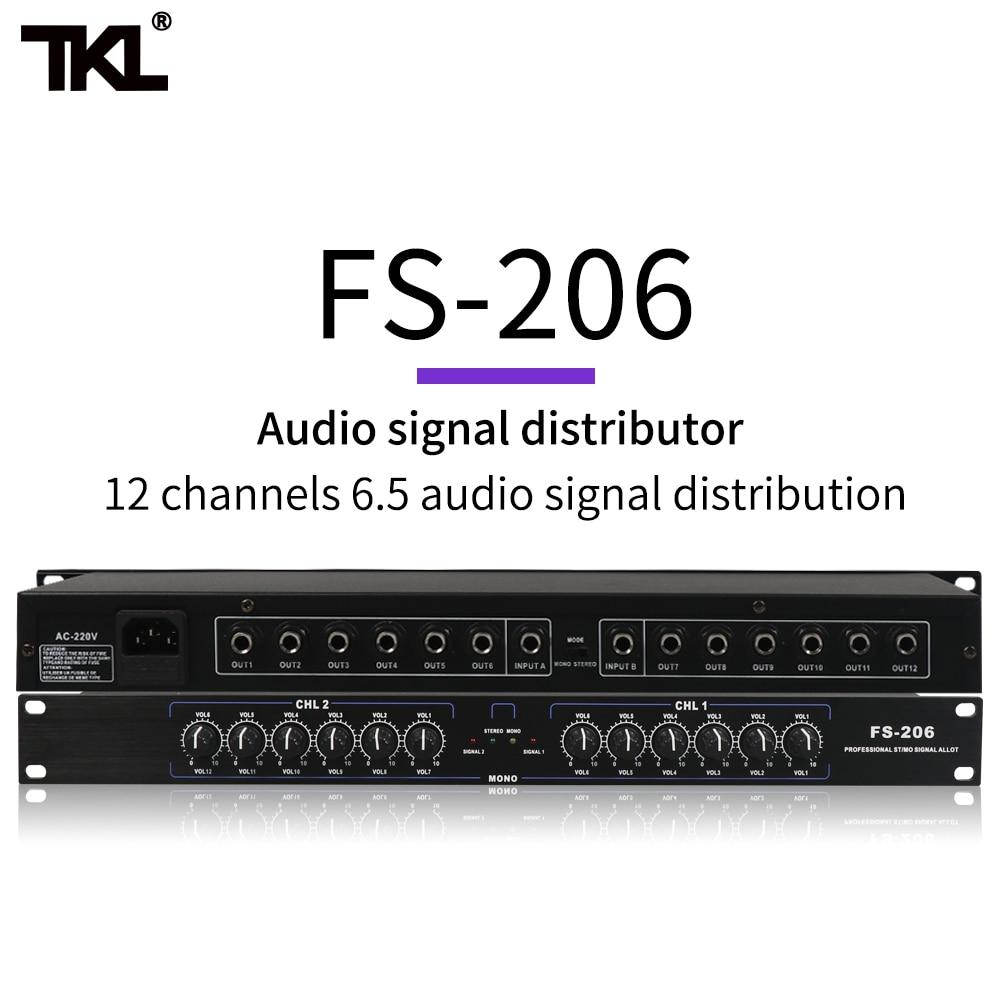 Tkl fs206 equipamento profissional estéreo mono sinal de áudio divisor amplificador distribuidor 2 em 10 para fora xlr para a fase