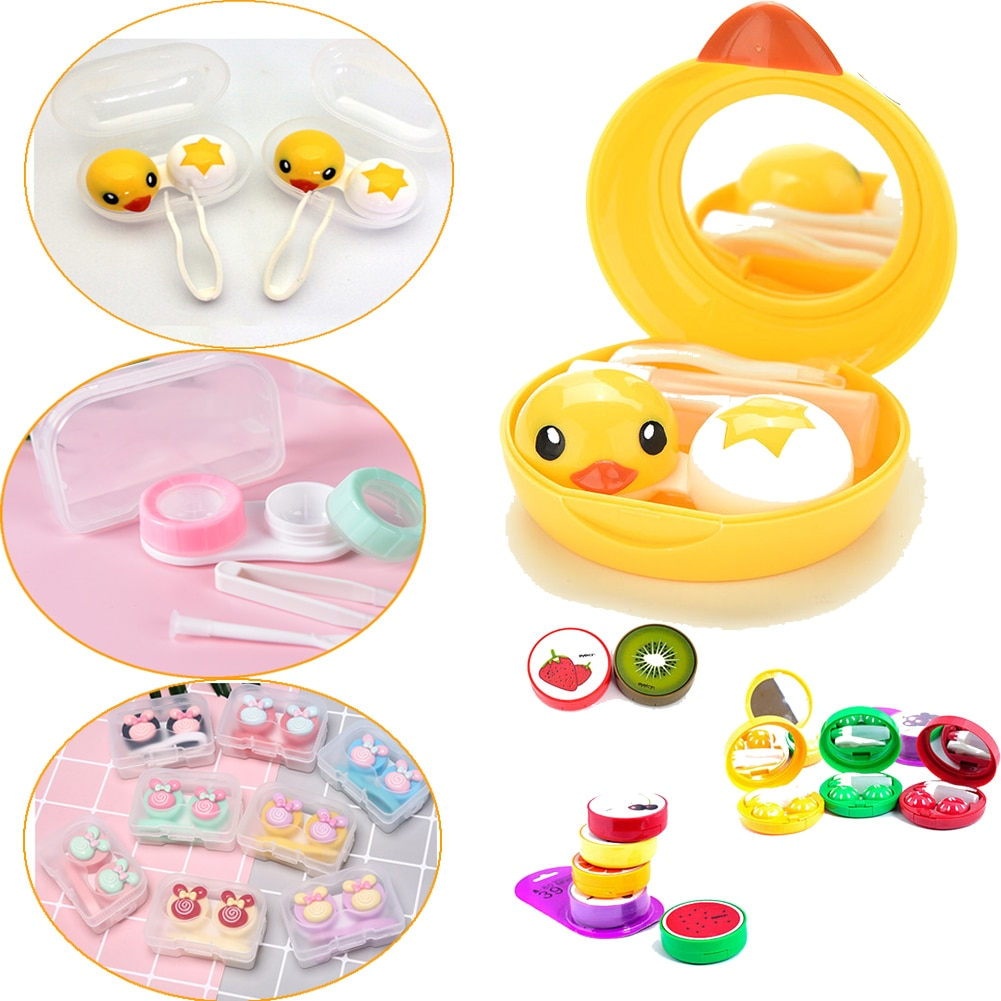 Mini lente de contato caso caixa de viagem kit mini eyewear acessórios dos desenhos animados pato design lente de contato caso titular recipiente