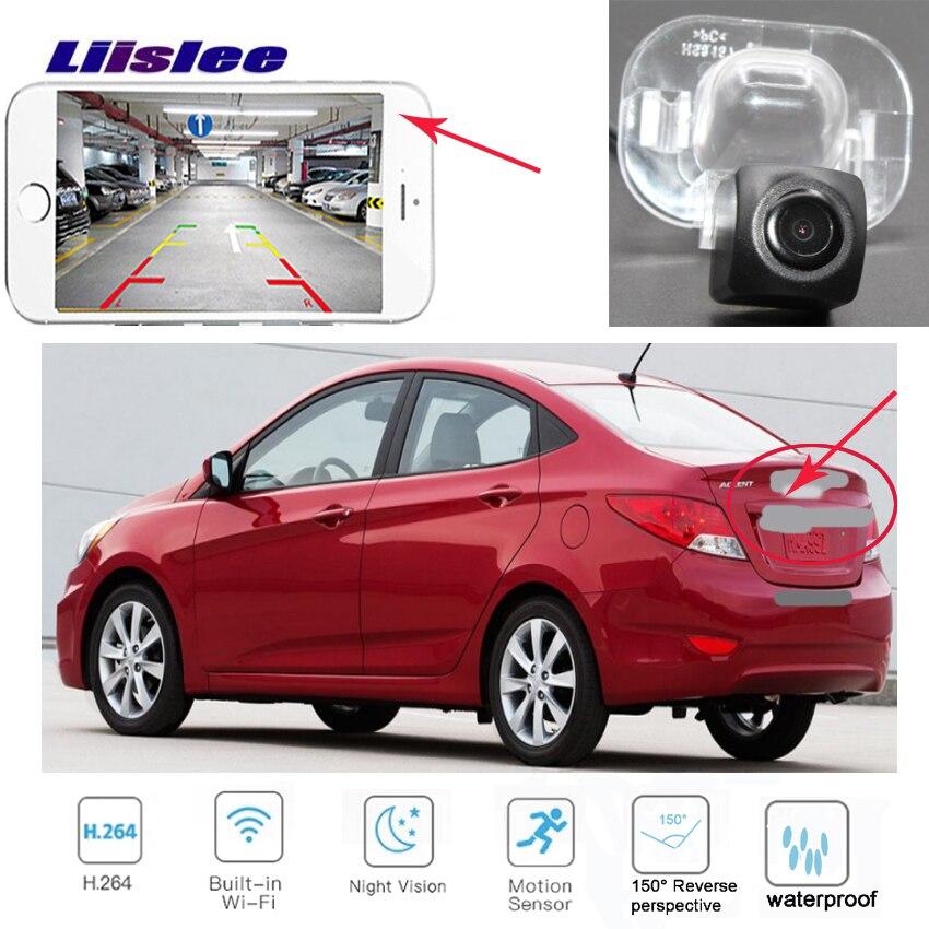 LiisLee para Hyundai fluidic Verna Solaris gran avega i25 Accent Sedan 2010 ~ 2015 HD Visión Nocturna cámara de marcha atrás