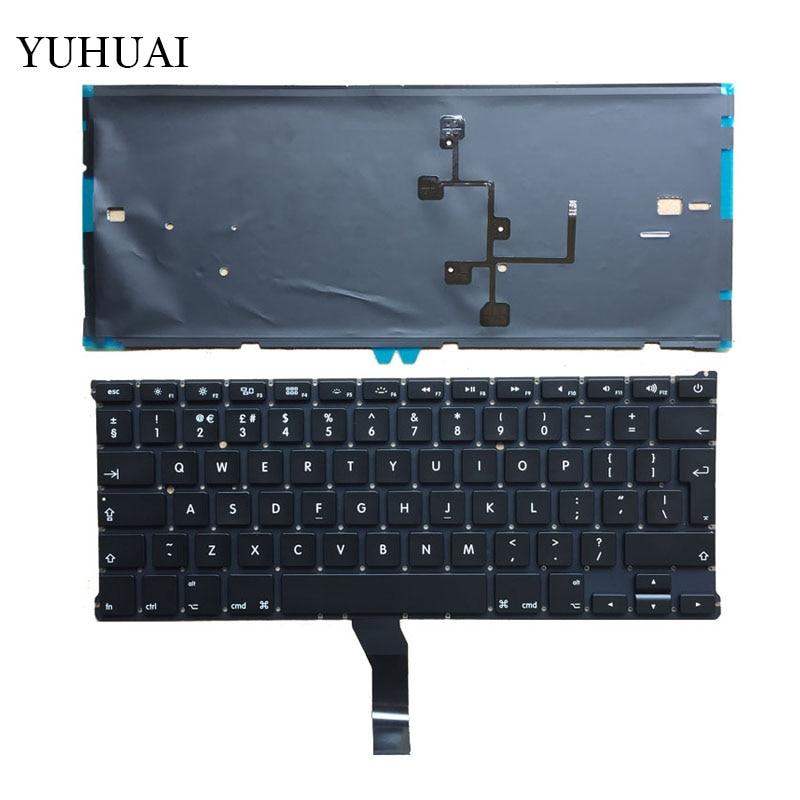 """Teclado nuevo UK para Macbook Air 13 """"A1466 A1369 teclado de ordenador portátil UK MD231 MD232 MC503 MC504 2011-15 años con teclado de retroiluminación"""