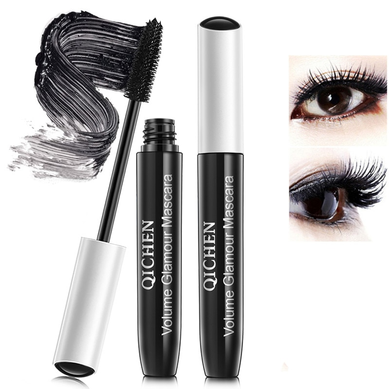 Marca 2 unids/set 3D fibra pestañas volumen impermeable doble rímel de extensión negro 3D Maskara para ojos