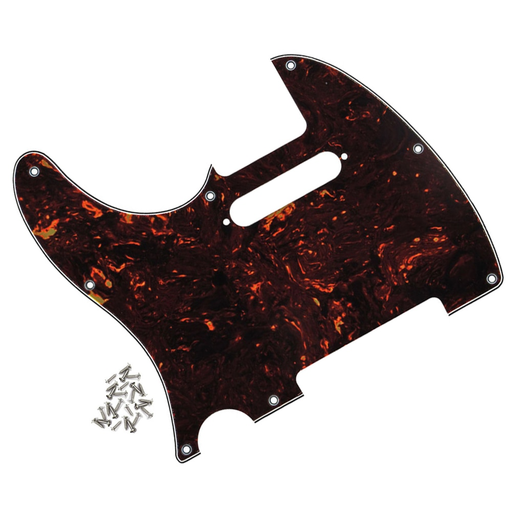 FLEOR Brown Tortoise zurdo Tele golpeador guitarra Scratch Plate con tornillos para FD guitarra Tele style