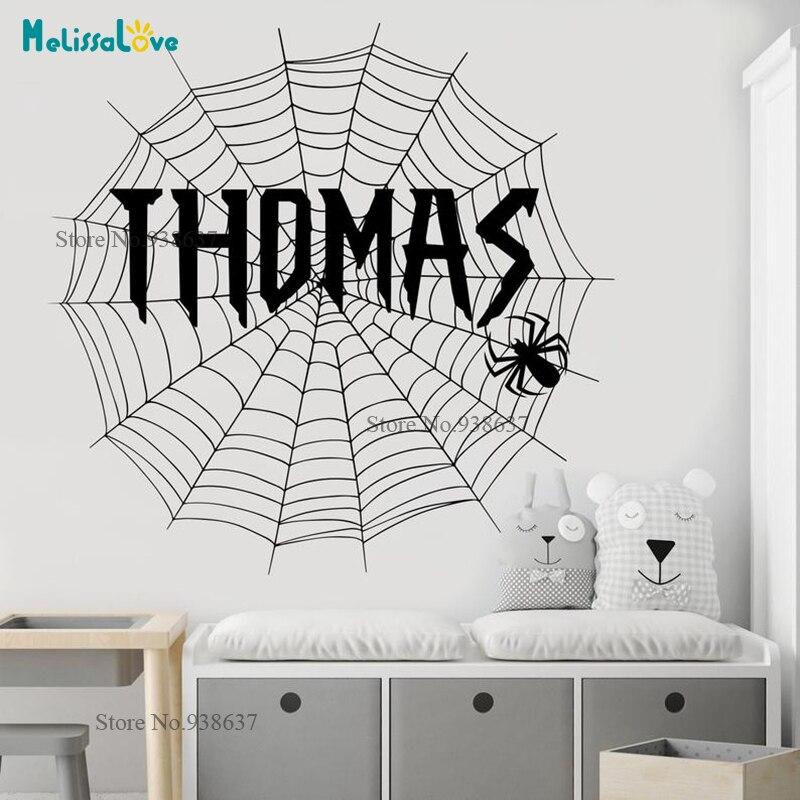 Pegatinas de tema de araña, pegatina personalizada, telaraña, vinilo extraíble de habitación para bebé, calcomanía de pared, nombre personalizado, guardería BA052