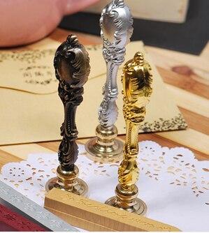 Pavão de bronze antigo lidar com carta flor do vintage lacre selo alça metálica de madeira box set de luxo