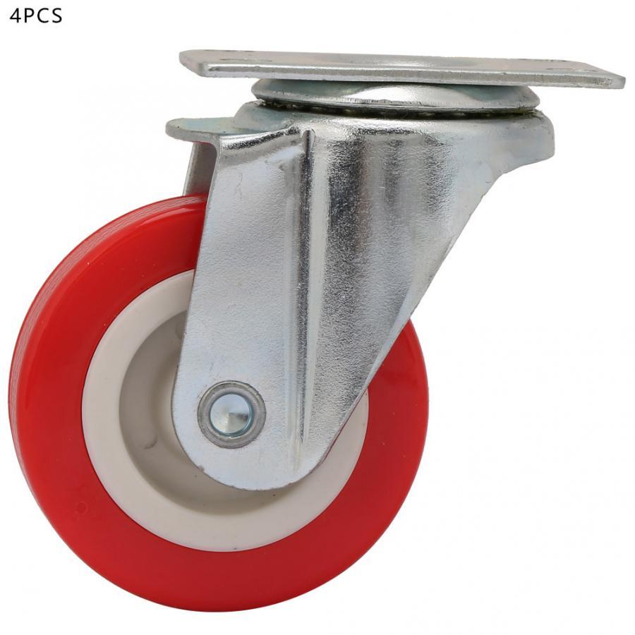 Roda encapuçada do pvc dos rodízios da placa superior do giro Polegada ° das rodas da mobília do rodízio da cadeira do escritório de 4 pces 2 360 para o carro de jantar do trole da mobília