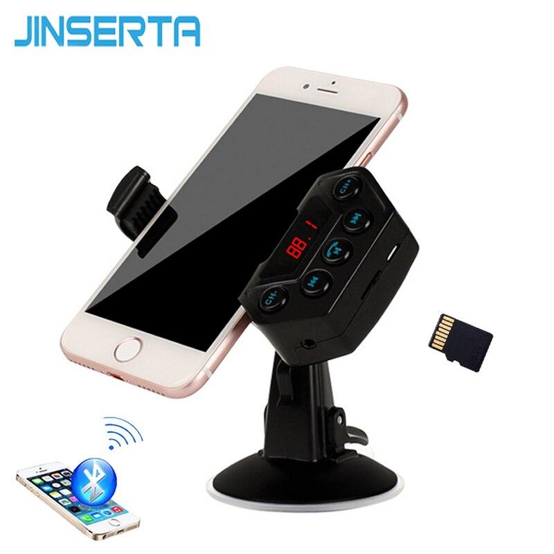 JINSERTA-جهاز إرسال MP3 للسيارة ، مستقبل صوت TF ، بلوتوث ، جهاز إرسال FM لاسلكي ، طقم سيارة ، حامل هاتف بدون استخدام اليدين