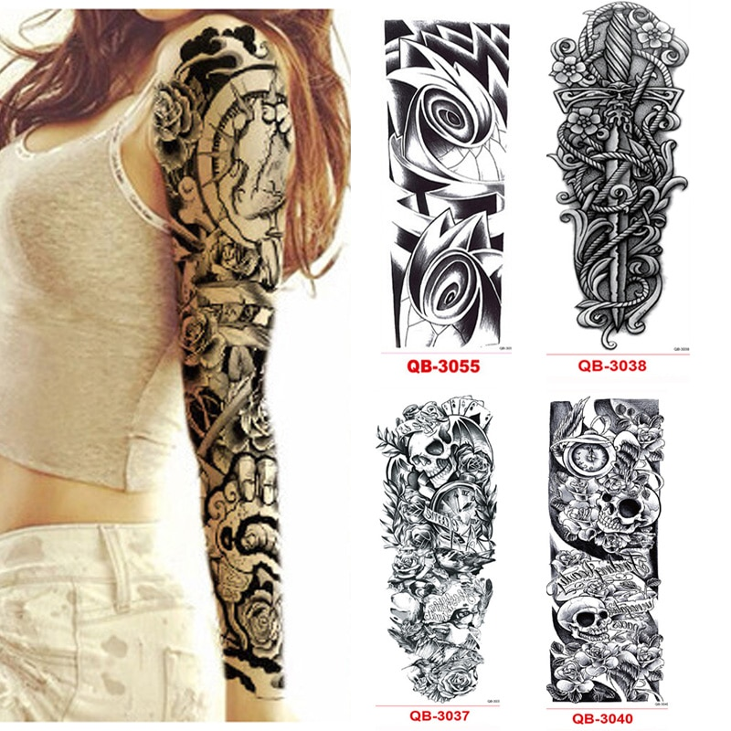 3 uds tatuajes temporales impermeables de manga de tatuaje para hombres y mujeres pegatinas de transferencia tatuajes de Flash pegatinas metálicas para arte corporal