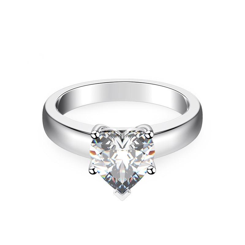Anillo de diamantes con forma de corazón de moissanita bonita positiva, solitario, joyería de oro blanco de 14 K, anillo de compromiso de moissanita de 1 CT para mujer