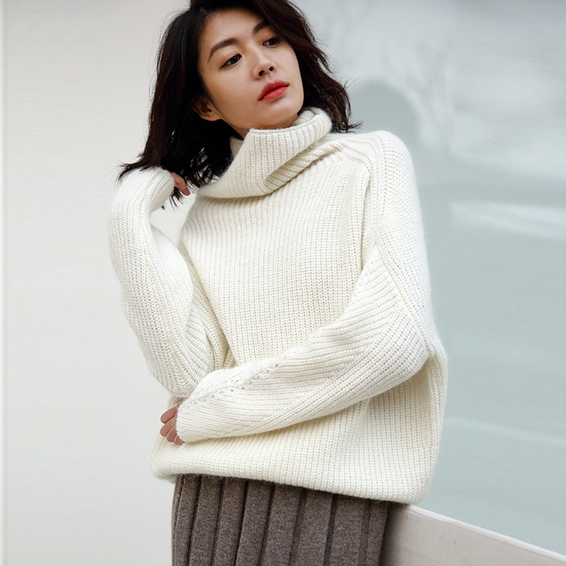 Lazy Sweater Women Mohair Wool Blending Solid Knitted Turtleneck Drop-shoulder 3 Colors Knitwear Ladies 2018 New Fashion Style enlarge
