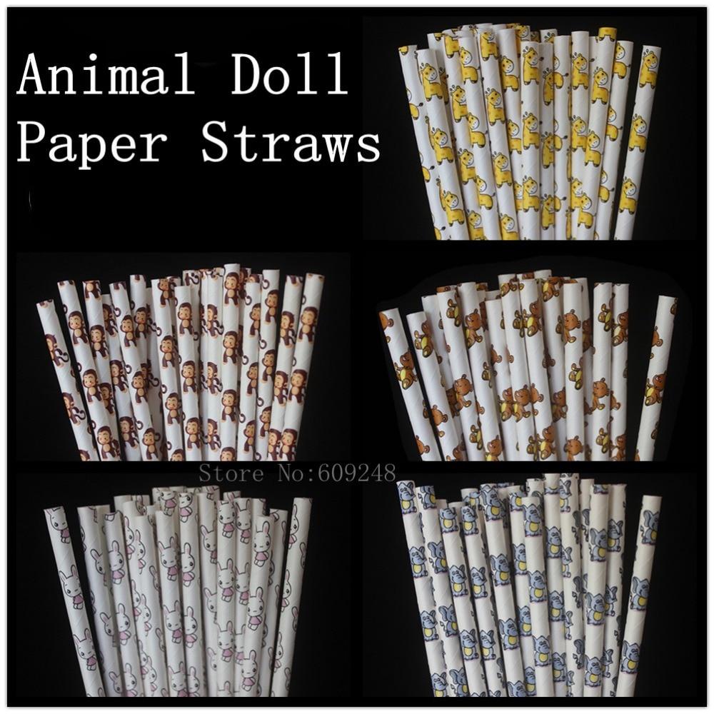 Fast DHL-شفاطات ورقية مطبوعة على شكل حيوانات ، 1000 قطعة ، دمية ، دب ، حصان ، فيل ، قرد ، أرنب ، هدية عيد ميلاد للأطفال