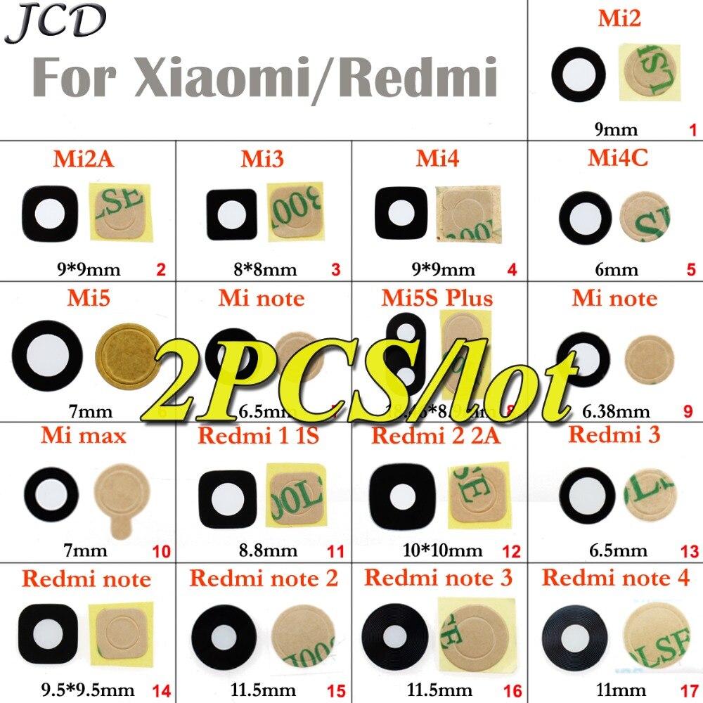 Jcd para xiao mi 2 3 4 4c 5 5S mais vermelho mi 1s 2a 3 nota 2 3 4 traseira da câmera de vidro capa com adesivo peças reposição