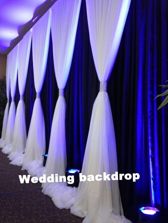 Envío gratis 3M * 6M seda hielo y gasa telón de fondo para decoración de boda cortina de boda con gasa cenefa CR-97
