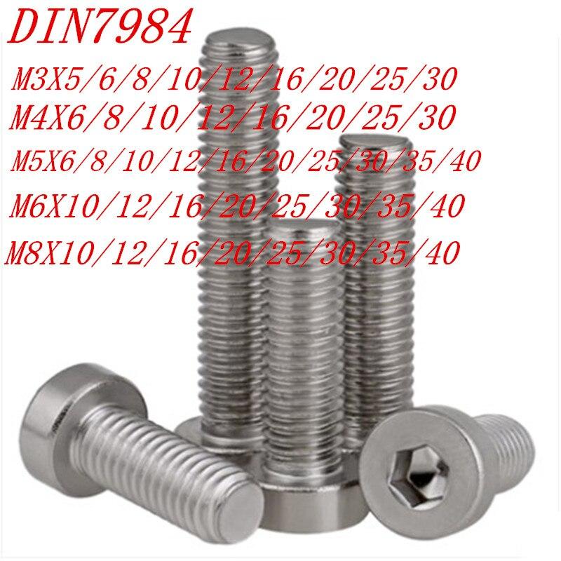 50 Uds 20 piezas 10 Uds 5 uds 304ss DIN7984 M3 M4 M5 M6 M8 hexágono hembra delgada Cabeza corta tapa de tornillo