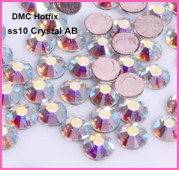¡Envío Gratis! 1440 unids/lote, ss10 (2,7-2,9mm) alta calidad DMC Crystal AB hierro sobre diamantes de imitación/diamantes de imitación de fijación en caliente