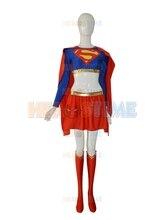 Neue Supergirl Röcke Rot Und Blau Spandex Superheld Superman Kostüm Halloween Cosplay Weiblich Anzug