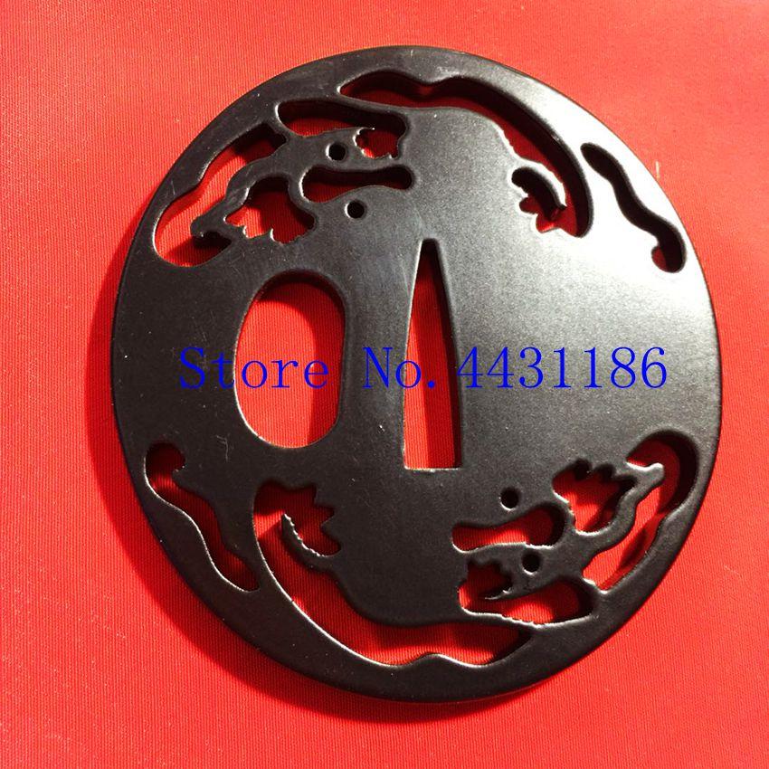 Negro de hierro Tsuba mano guardia japonés espada samurái katana Wakizashi de