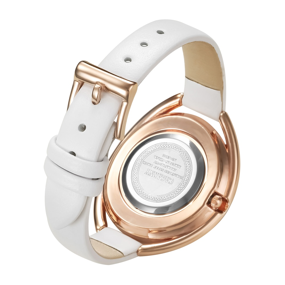 Luxury Brand Cagarny Women Watches Rose Gold Case Shining Crystal Women's Quartz Watch Woman Vogue Leather Strap Reloj Mujer New enlarge