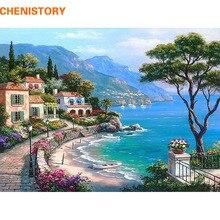 CHENISTORY Mittelmeer Landschaft DIY Malerei Durch Zahlen Kits Malen Auf Leinwand Mit Holzrahmen Für Home Wand Deocr Geschenk