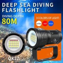 Tauchen Lanterna Taschenlampe 18650 Taschenlampe Unterwasser 80m Fotografie Licht Video Lampe L2 Weiß Rot Blau LED Scuba Foto Füllen licht