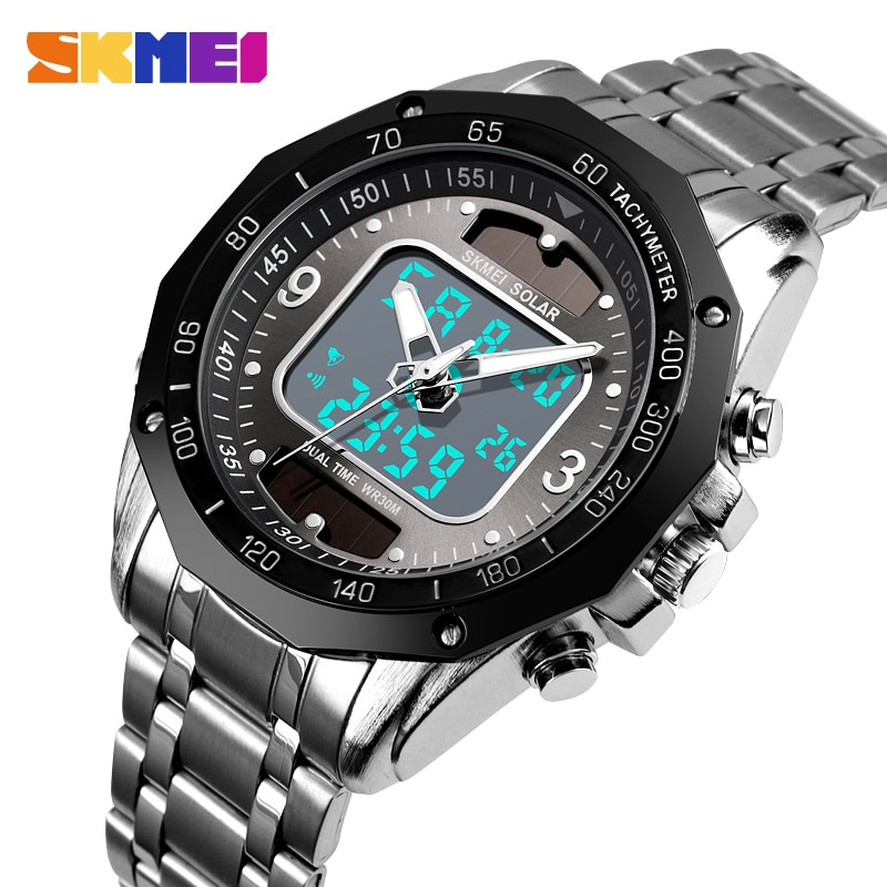 SKMEI Fashion Luxury Brand Watch Men 3Bar Waterproof Stainless Steel Strap Dual Display Quartz Men Watch relogio masculino 1493