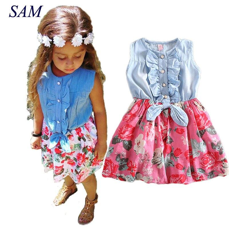 Vestido de bebé niña 2019 encantador vestido de verano con volantes y flores con lazo de tela vaquera para niñas