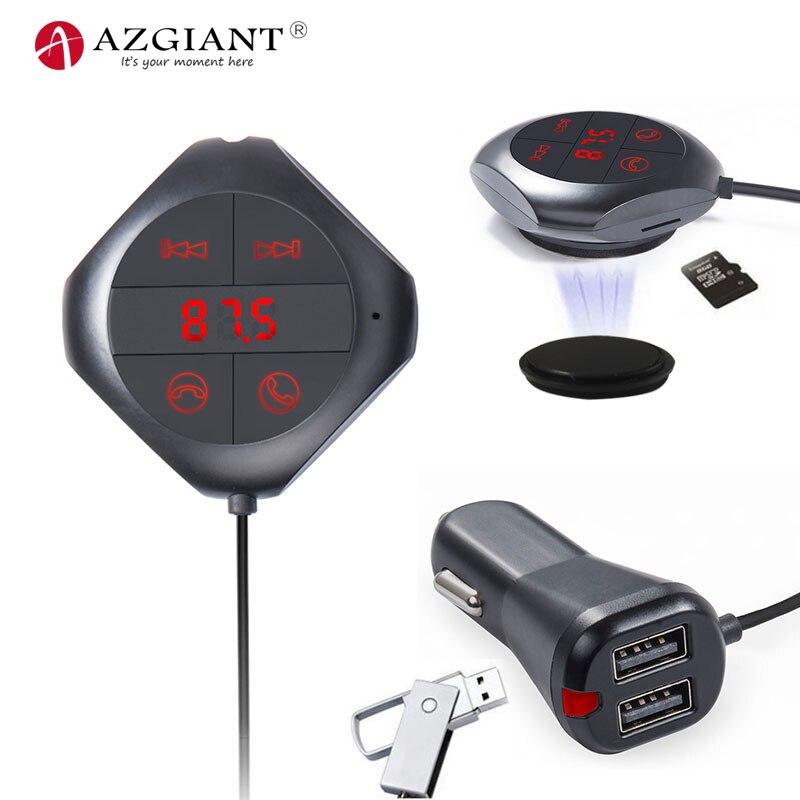Reproductor de MP3 AZGIANT para coche, transmisor FM, pantalla LED, 2 cargadores USB, Bluetooth, manos libres, disco U y tarjeta TF, función de salida de Audio