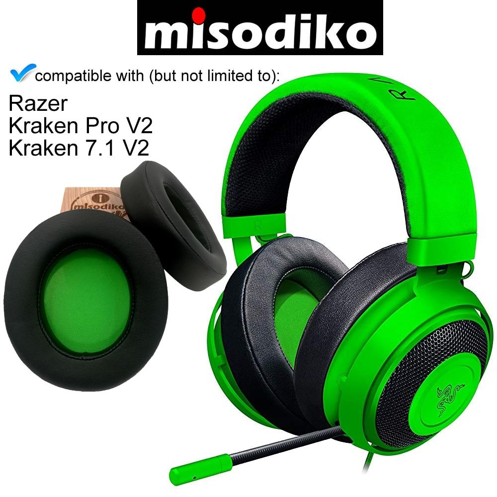 Almohadillas ovaladas de repuesto misodiko para auriculares Razer Kraken Pro V2/Kraken 7,1 V2, almohadillas para reparar auriculares