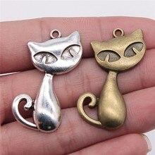 WYSIWYG 6 pièces 39x32mm pendentif grand chat renard breloque pendentifs pour la fabrication de bijoux couleur argent Antique grand chat pendentifs