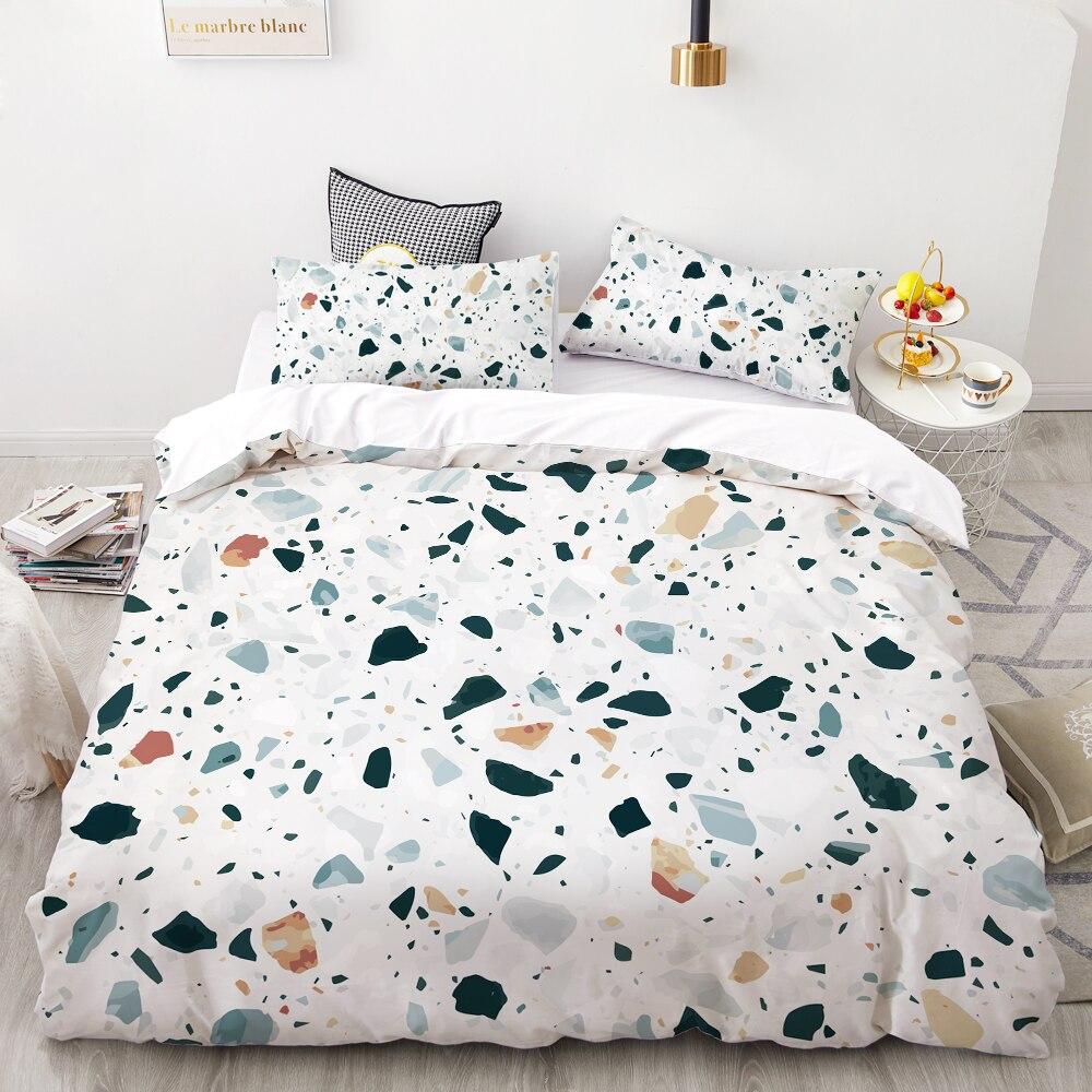 3D HD Digital Printing Custom Bedding Set,Duvet Cover Set Double Queen Cal King,Wedding Bedclothes Green Marble Drop Shipping