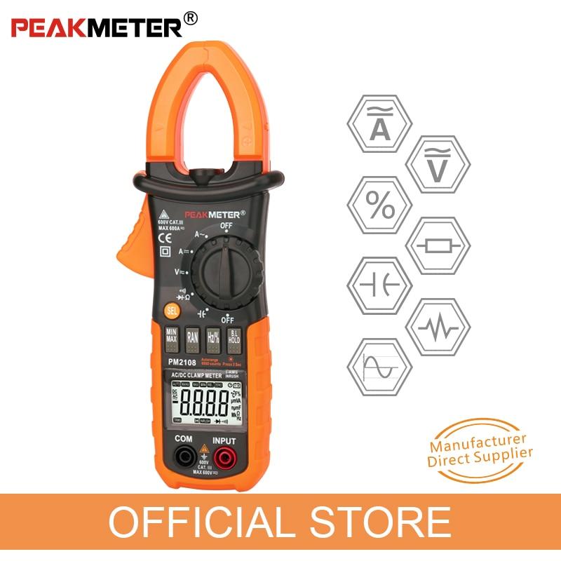 مقياس التيار PEAKMETER PM2108 MS2108A MASTECH ، مقياس التيار الكهربائي ، مقياس السعة ، مشبك متعدد التيار المتردد DC