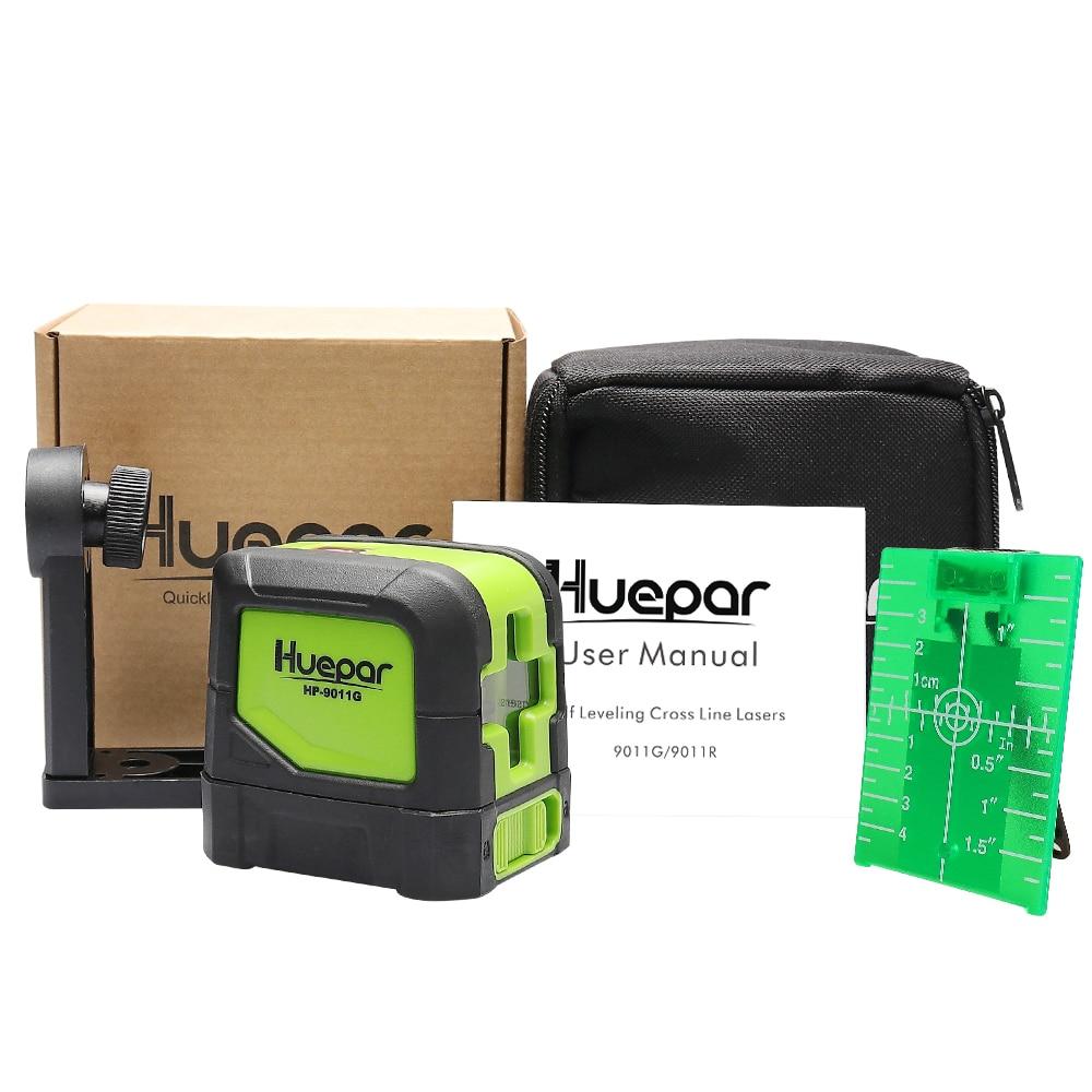 Купить с кэшбэком Huepar Green Laser Level DIY - Cross Line Laser Self-Leveling 9011G Bright Green Beam Laser Horizontal and Vertical Lines Laser