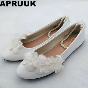 Ankle beading strap wedding flats shoe woman female white champagne flowers bridal bridesmaid flats shoes drop shipping