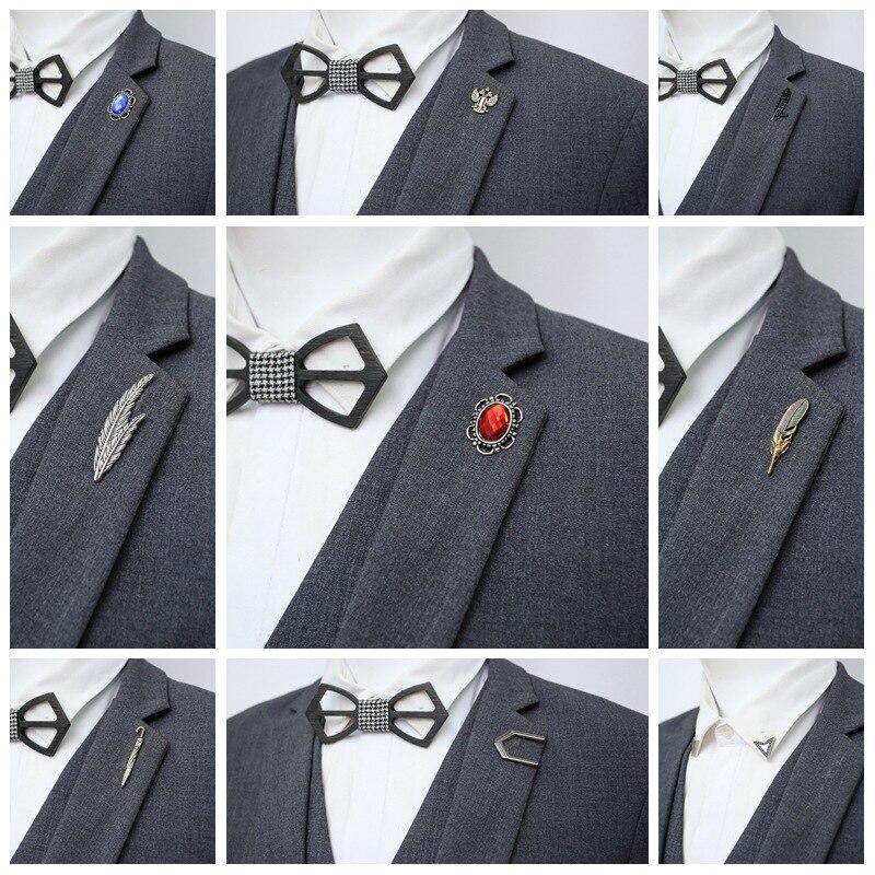 Wukaka pluma hoja de águila Garra Para hombres traje camisa broche Pin capa solapa collar de alfileres avión Pins hombre joyería Accesorios