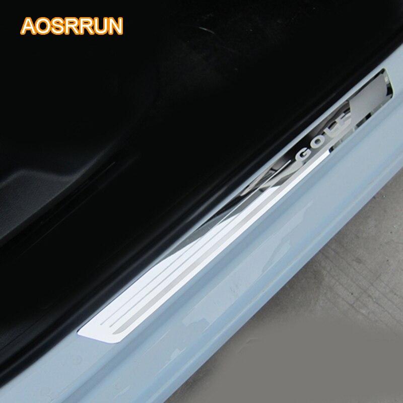 AOSRRUN, umbral de puerta de acero inoxidable, placa de desgaste, accesorios de coche para VW Volkswagen Golf 7 MK7 2013 2014 2015 2016 4 uds, 1 Juego de coche