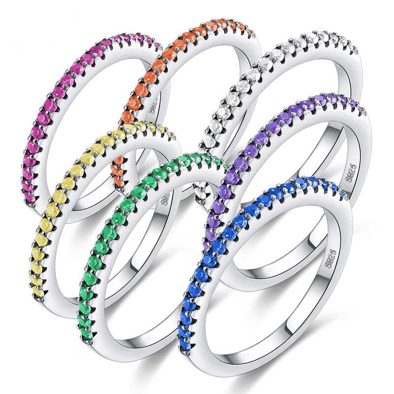Venda quente Anel De Prata Europeu Plana Brilho Colorido de Cristal Do Acoplamento Do Casamento Cauda Anéis Para Presente Mulheres Partido CZ Anéis Jóias