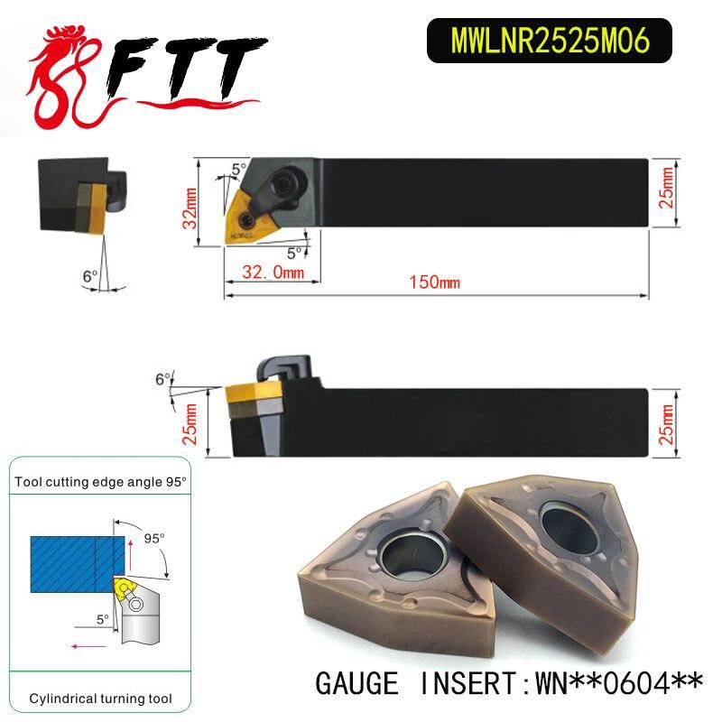 MWLNR2525M06 95 градусов Внешний поворотный держатель инструмента для WNMG060404 WNMG060408 используется на токарном станке с ЧПУ