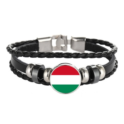 Elfin Hungary Flag Bracelets Classic New Woven Leather Hungary Charm Bracelets Jewellery