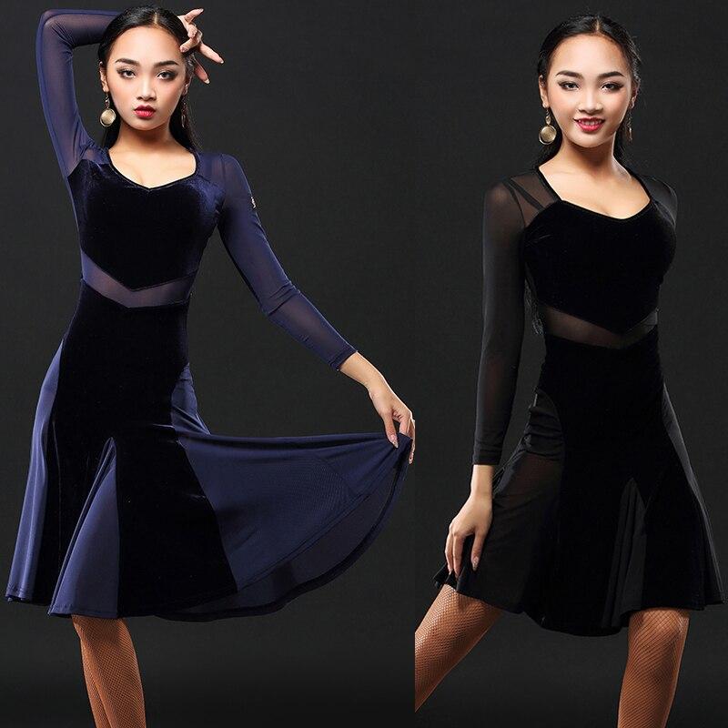2020 Latin dans elbise kadın Net etek Salsa elbise Tango Rumba yetişkin balo salonu Latin dans yarışması kostümleri DQS1205