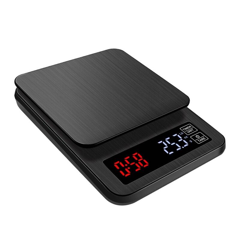 5 кг * 0,1 г lcd электронные весы для кофе 5000 г/0,1 г черные большие цифровые кухонные весы для выпечки USB таймер для взвешивания веса 3 кг 0,1 г
