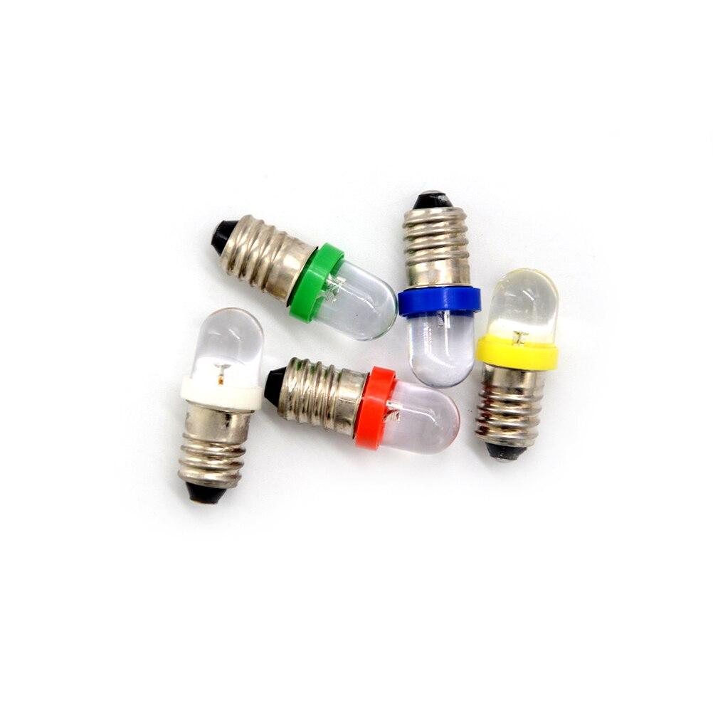 5 unids/lote bajo consumo de energía E10 LED tornillo Base bulbo del indicador blanco frío 6V/12V/24V DC bombilla de luz de calidad superior