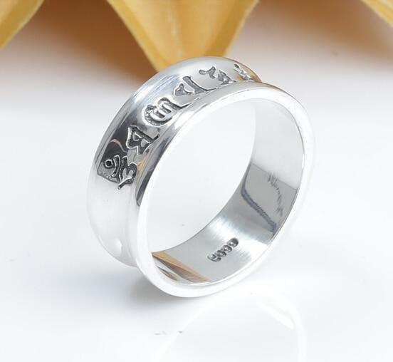 Anel tibetano da prata 999, artesanal, vintage, anel em prata real, om mani padme hum