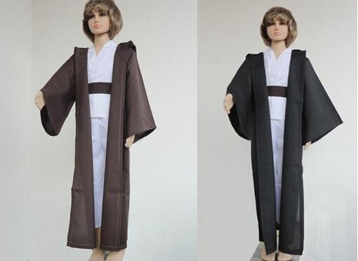 Frete grátis star wars traje jedi mestre obi wan/ben kenobi cosplay túnica terno crianças cosplay traje para crianças capa