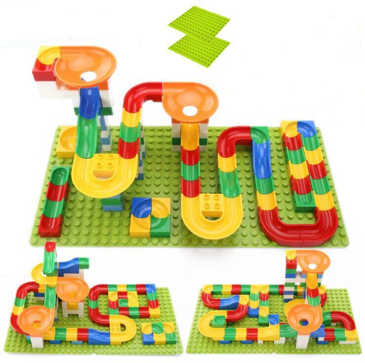 54-108Pcs Marble Race Run Maze Balls Track Building Blocks Funnel Slide Big Size Building Brick Education Compatible All
