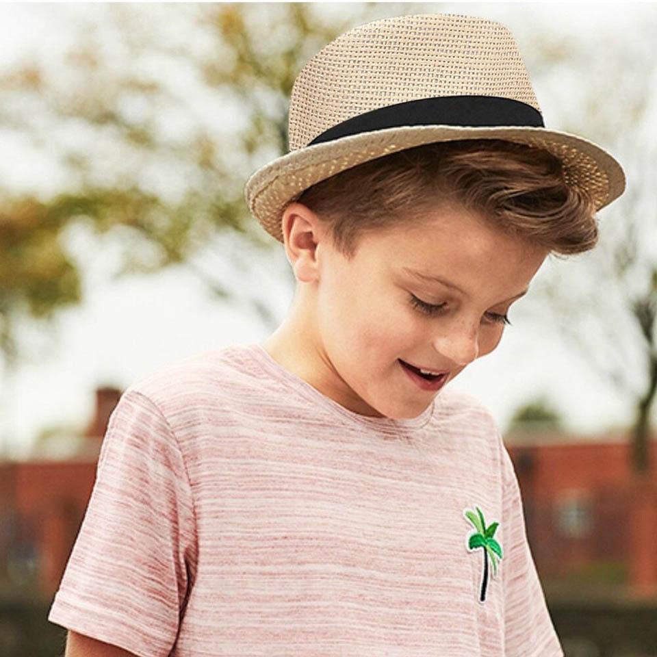 Детская летняя пляжная соломенная шляпа, шляпа в стиле джаз, Панама, шляпа-федора, британский головной убор, дышащие детские шапки, солнцезащитный козырек для девочек и мальчиков