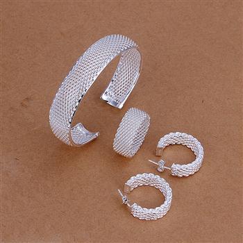 M925 Silver color middle wide fine mesh open cuff bracelet full mesh ring earring hoop women fine fashion jewerly wholesale